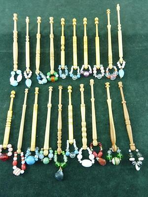 20 nice mixed turned wood Lace bobbins  with spangles  #31