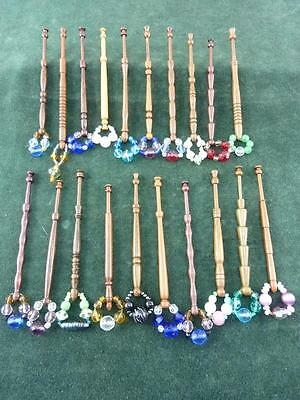 20 nice mixed turned wood Lace bobbins  with spangles  #25