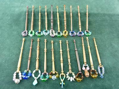 21 nice mixed turned wood Lace bobbins  with spangles  #22