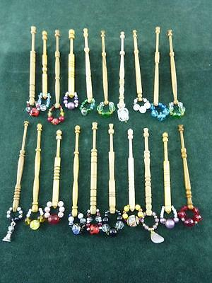 20 nice mixed turned wood Lace bobbins  with spangles  #21
