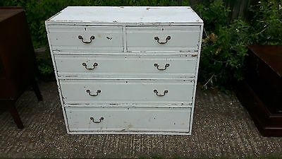 Edwardian chest of 2 over 3 drawers - solid oak/painted white
