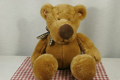 "Russ HODGE the Bear. VERY LARGE 22"" head to toe. Plaid Bow Excellent! (P11)"