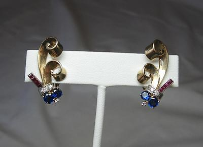 Sapphire Ruby Diamond Earrings Appraised $1260 Retro Art Deco 14K Gold Hollywood