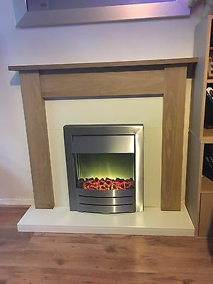 Electric Fireplace And Pine Wood White Surround Stainless Steel Good Condition