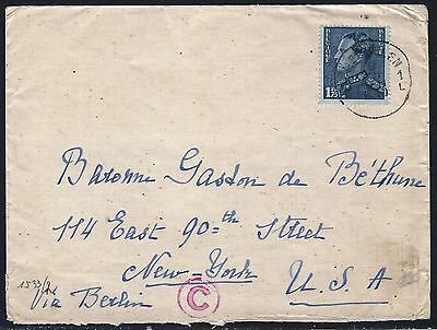 Belgium 1940 Cover To Us German Censor In Cologne 2 Scans