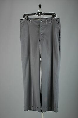 Vtg Men's 1950s Gray Drop Loop Rayon Gabardine Pants sz 35x29 50s Slacks #2810