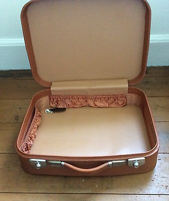 Small Vintage Retro Revelation Suitcase Tan Brown With Key fully Lined