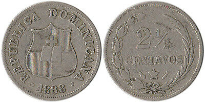 1888 Dominican Republic 2-1/2 Centavos Coin KM#7.3