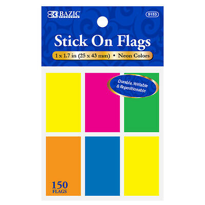 "1 pack of BAZIC 25Ct 1x1.7"" (25x43mm) 6 Neon Color Standard 150 Flags #5153"