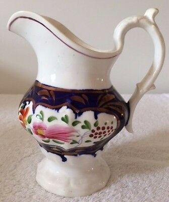 Rare Feather Pattern Victorian Gaudy Welsh Hand-Painted Milk Jug