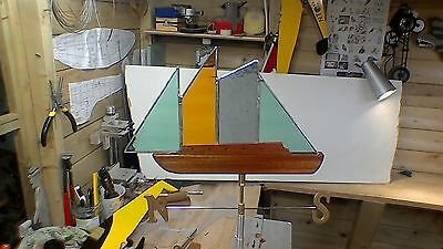stained glass vintage style yacht windvane for garden or shed with N/S pointer.