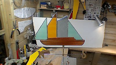 stained glass vintage style yacht windvane for garden or shed