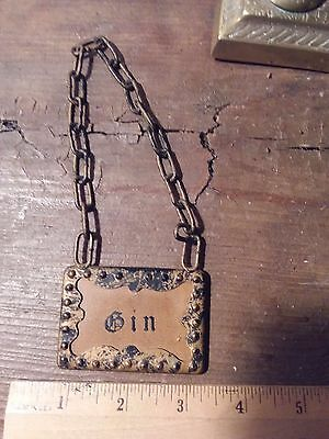 Vintage Metal Art Deco Chained Liquor Decanter Bottle Labels Tag Gin from Spain