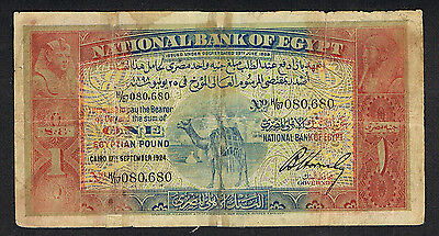 Egypt, 1924 P 18, 1£ Camel, in G-VG condition, taped but still presentable and n