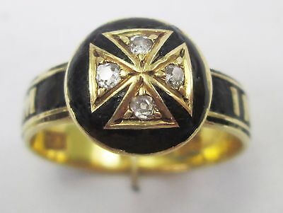 Antique Victorian 18ct Gold In Memoriam Black Enamel Diamond Masonic Ring 1866