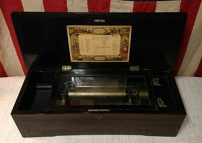 ANTIQUE 1800's COLUMBIA Special Large 10-Air 8-Inch Cylinder Music Box ~No Crank