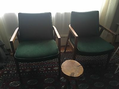 Vintage MCM Set 2 Gunlocke Mid Century Modern Arm Chairs Pair Green RETRO cool