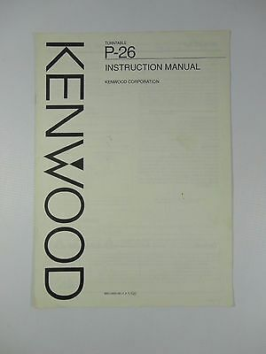 Kenwood P-26 Turntable Instruction Manual - Vinyl Record Player Instructions