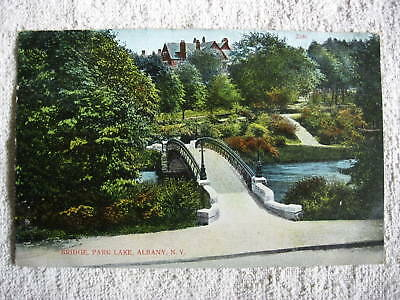 1910 Bridge, Park Lake, Albany, New York, Postcard