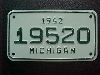 1962 Michigan Motorcycle License Plate NOS Un-Issued