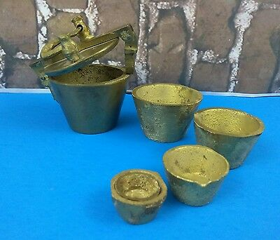 VTG Brass Nesting Apothecary Scale Weight Set Not Complete Parts