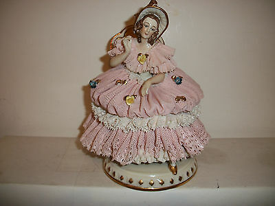 Vintage Dresden Lace Lady Sitting On Chair Figurine