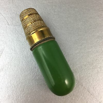Vintage Green On Brass Travel Sewing Kit Thimble Needle Case Made In Germany