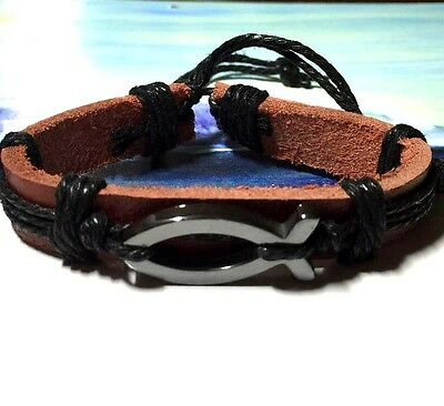 Men's Jesus Ichthus Fish Symbol Leather New Age Fashion Surfer Bracelet