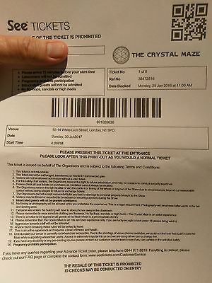Crystal Maze experience event tickets for London Sunday 30th July 4pm