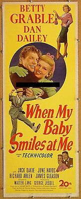 WHEN MY BABY SMILES AT ME, 1948, Betty Grable musical:Scarce UNFOLDED US Insert*