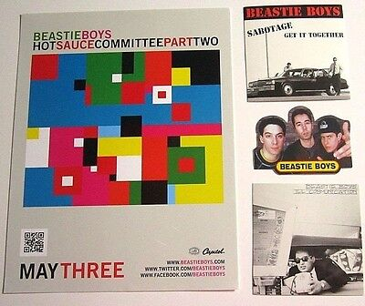 """BEASTIE BOYS """"Hot Sauce Committee Part Two"""" Promo Cling AND 3 STICKERS"""