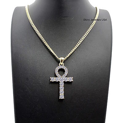 Mens Iced Out Egyptian Gold Ankh Cross Pendant Cuban Chain Necklace Hip Hop