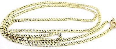 """10K Solid Gold Cuban Curb Link Chain Necklace 20"""" X 2 mm 3 GRAMS Italy  #8860"""