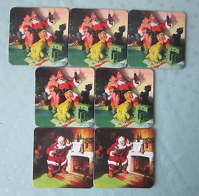 7 Vintage Coca Cola Christmas Coasters with Cork Back