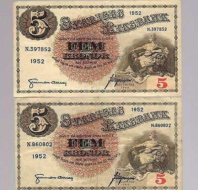 SWEDEN:  TWO (2)  x  5 KRONOR  (1952)  (N 397852)