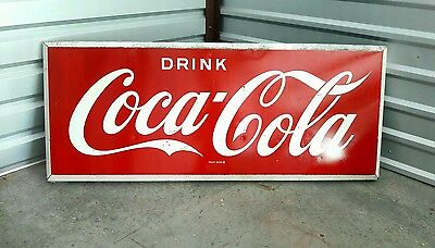 1950's self framed Coca Cola metal sign (2 ft X 5 ft)
