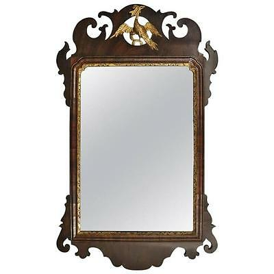 Antique Mahogany Parcel-Gilt Federal Chippendale Glass Wall Mirror, circa 1790
