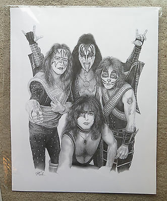 KISS large 24 x 19 Pencil Print Poster Paul Stanley Gene Simmons Peter Criss