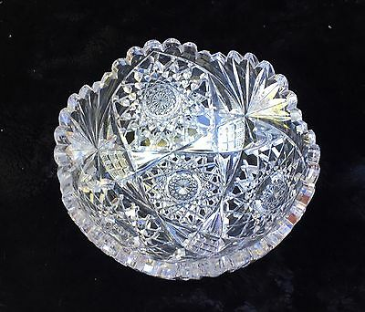 """ABP Brilliant Cut Glass Hobnail, Cane and Fan Berry Bowl 8"""" Hawkes Signed"""