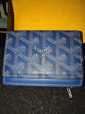 New Mens Authentic Goyard ID Credit Card Carrier Wallet Blue Reciept NO Box