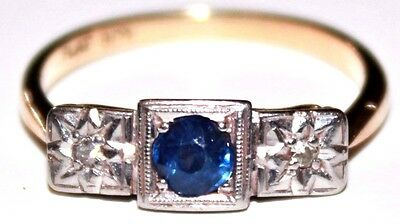 Art Deco blue sapphire & diamond 9 ct gold platinum ring vintage antique size O