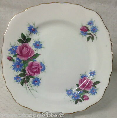 2 Saucers + 1 Side Plate Royal Vale England + China Blue & Pink Floral