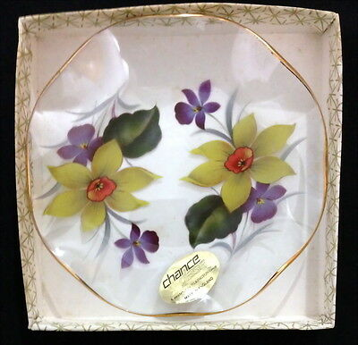 ♡ Free Post Chance Glass England Daffodil & Orchid Small Plate Fluted Edges