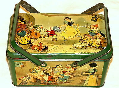 Disney Snow White Lunch Box Biscuit Tin 1930s
