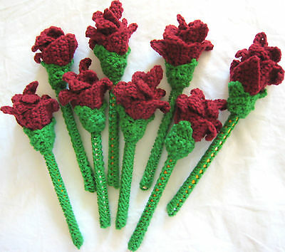 8 HANDMADE Knit CROCHET Long GREEN Stem MAROON ROSE Flower FLORAL Decor APPLIQUE