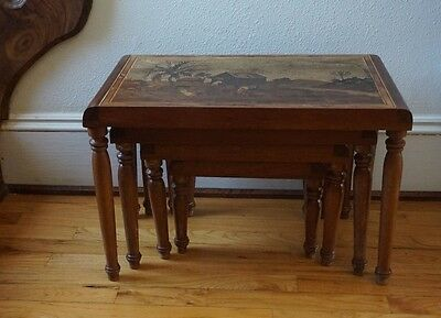 Vtg 4 Nesting Tables Carved Wood Inlay Marquetry Stacking