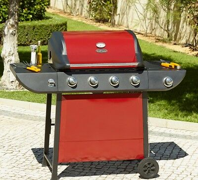 Cast Iron Outdoor 4 Burner Grill Barbecue Side Gas Cooking Portable Steel BBQ