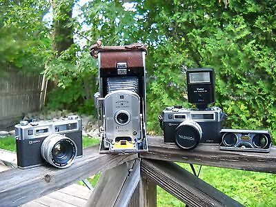 VINTAGE CAMERA LOT ~ Polaroid 95A and 2 Yashica Electro 35 GSN Case ~ As Is