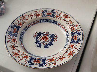 Vintage Soup Bowl By Minton With An Orange Flower And Dark Blue Pattern