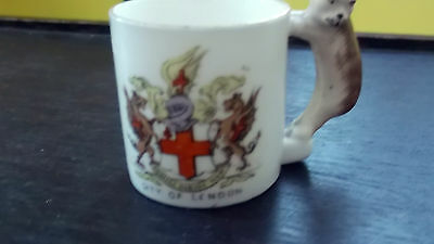 Vintage Gemma China  Model Of A Mug With A Cat Handle  Crested City Of London